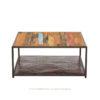 Kleo mesa de centro de estructura metálica color negro y madera reciclada de barco