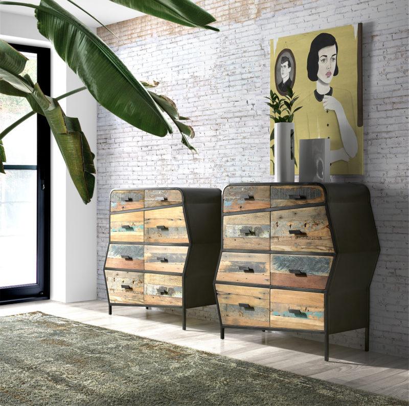 Ambiente aparador Nobo de estructura metálica color negro y madera reciclada de barco con 8 cajones