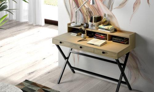 Ambiente escritorio Salem de madera con 3 cajones y patas metálicas
