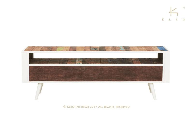 Nordic mueble TV de estructura metálica color blanco y madera reciclada de barco, 3 cajones