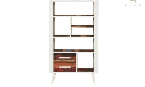 Estantería Nordic de estructura metálica color blanco y madera reciclada de barco, 2 cajones y 6 estantes
