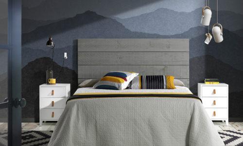 Ambiente cabecero Slam madera color gris desgastado con mesitas Origen blancas y tirador de cuero